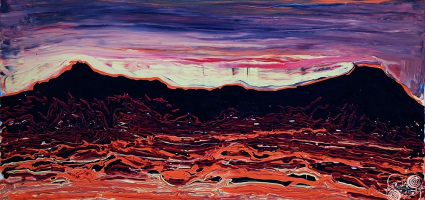 'Albuquerque Volcanoes - Latex on Canvas' detail by .carolinecblaker.
